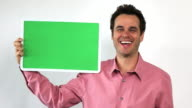 Charismatic Sales Guy With Green Screen Board, Thumbs Up