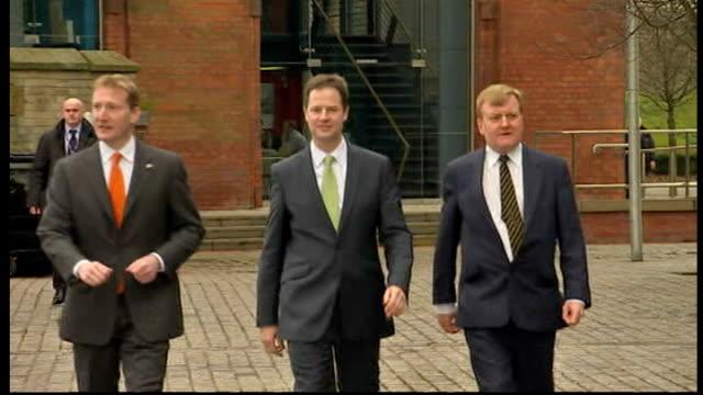 Charles Kennedy Nick Clegg and Travish Scott launching Liberal Democrat Scottish Manifesto in Glasgow