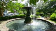 Charleston South Carolina Chapel Street fountain park in quiet area of Chapel Street