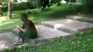 Charming guy relaxing in park