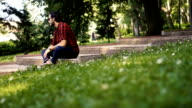 Charming man in park
