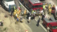 Charter Bus Overturns on California Freeway Injuring 50 on August 22 2013 in Irwindale California