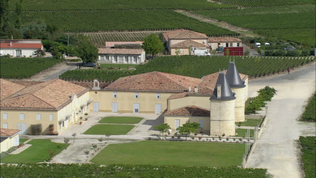 AERIAL, Chateau surrounded with vineyards, Bordeaux, Aquitaine, France