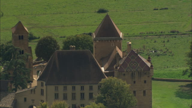 AERIAL WS Chateau with tiled roof / Fleurie, France