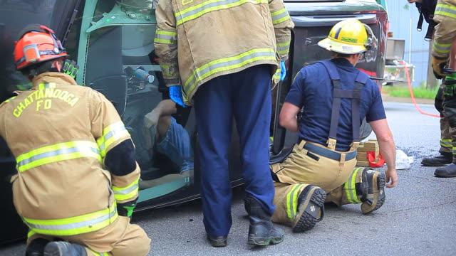 Chattanooga firefighters and Hamilton county EMS came to the rescue of a man from a two car accident Cause of the crash was still under investigation...