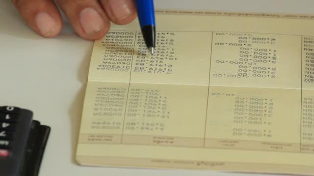 Checking bank book.