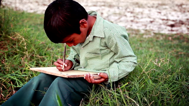 Cheerful Boy Sitting in the Field and Studying Outdoor Portrait