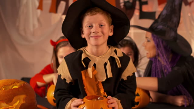 HD DOLLY: Cheerful Young Boy Dressed As Scarecrow