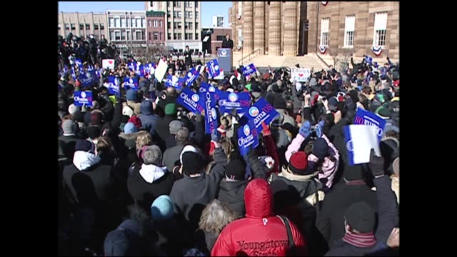 WGN Cheering Crown at Barack Obama's Presidential Campaign Announcement in Springfield Illinois on February 10 2007