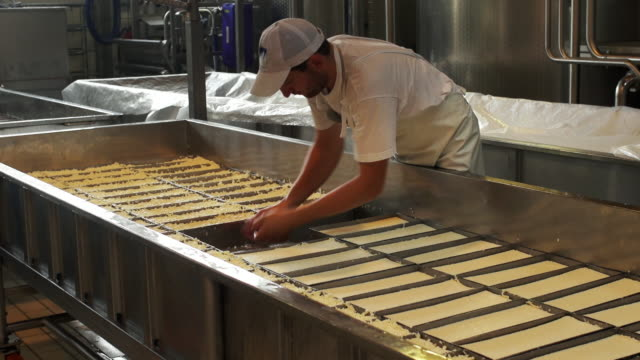Cheese maker turning the curd filled molds in a dairy