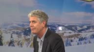 Chef Anthony Bourdain being interviewed on the set of Good Morning America in New York NY on 1/14/13