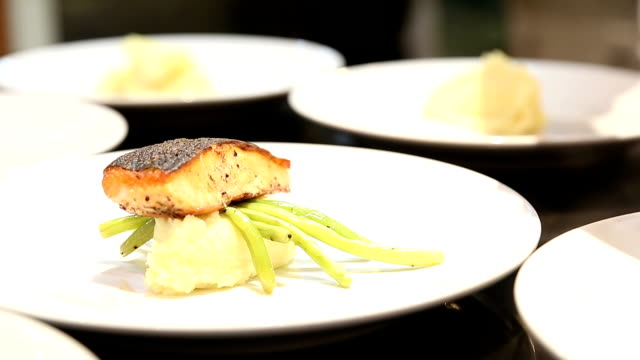 HD: Chef Cooking Gourmet Salmon Steak Entree
