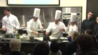 Chef Massimilano Alajmo demonstrates cooking during the Master Class at the International Day of Italian Cuisines Launch Event at The Italian...