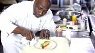 Chef preparing elegant gourmet dessert