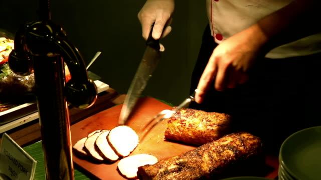 HD: Chef slice roasted Pork