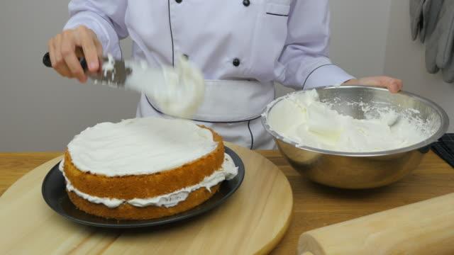 chef's decorating cake