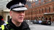 Adrian Hanstock intvw and St Pancras Station GVs ENGLAND London St Pancras Station EXT Adrian Hanstock interview SOT / 2 SHOTS Hanstock and reporter