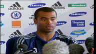 Chelsea FC Press Conference as Ashley Cole signs to the club Ashley Cole press conference SOT fresh challenge for him after Arsenal he just sits...