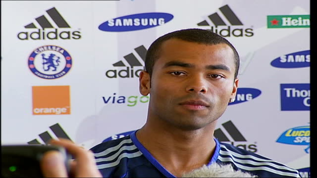 Chelsea FC Press Conference as Ashley Cole signs to the club Ashley Cole press conference SOT thinks this is going to be a tough season hopes they...