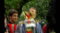 Chelsea FC still looking for new manager ENGLAND London Chelsea Abramovich raising Barclays Premiership trophy aloft