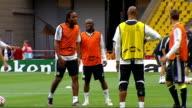 Chelsea FC team training Players training including Didier Drogba Ballack Andri Shevchenko