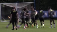Chelsea first team training ahead of their FA Cup final clash against Arsenal on Saturday GVs of N'Golo Kante Eden Hazard John Terry Diego Costa Gary...