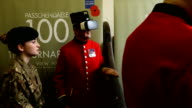 Chelsea pensioners John Kidman and Bill 'Spud' Hunt wear Virtual Reality headsets at a photocall during the Royal British Legion launch of the Battle...