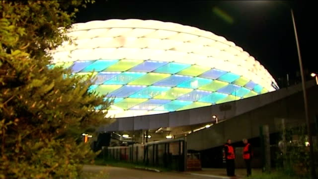 Chelsea prepare for Champions League Final against Bayern Munich GERMANY Munich Exterior of Illuminated Allianz Arena