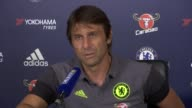 Stoke D'arbernon Chelsea FC Training Ground PHOTOGRAPHY *** Antonio Conte press conference SOT on expectations for Chelsea / on last season / on...