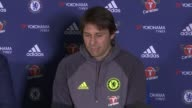 Chelsea set to win Premier League at West Brom ENGLAND INT Antonio Conte taking seat at press conference Antonio Conte press conference SOT