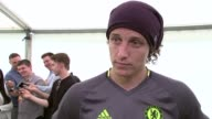 Chelsea training session ahead of FA Cup Final John Terry interview SOT / David Luiz interview SOT / Antonio Conte along in tent / Gary Cahill...