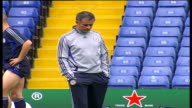 Chelsea training session More of Shevchenko Bridge Lampard Paulo Ferreira Terry and Cole limbering up / Chelsea Manager Jose Mourinho chatting to...