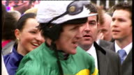 'Synchronised' wins Reporter to camera AP McCoy next to horse Synchronised AP McCoy posing with Synchronised and others AP McCoy interview SOT I said...