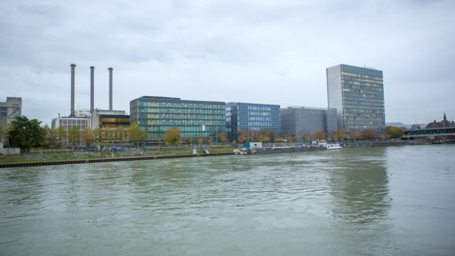WS POV Chemical Industry on River Rhein view from boat / Basel, Basel Stadt, Switzerland