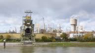 WS POV Chemical Industry on shore of River Rhein / Koblenz, Germany