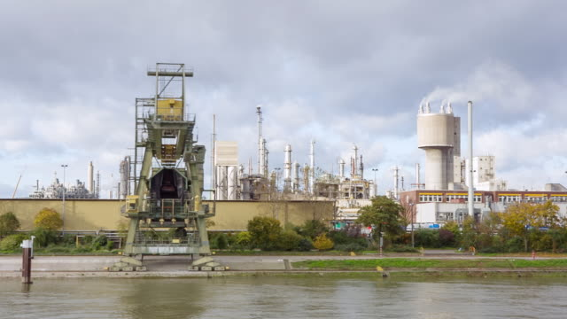 WS POV Chemical Industry on shore of River Rhein / Koblenz, Germany