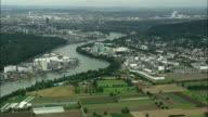 AERIAL Chemical works along Rhine river near Basel, Switzerland