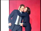 Cherie Blair joins Tony Blair on Labour Party conference stage to rapturous applause they proceed to hug and kiss Blackpool 01 Oct 96