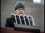 Chernenko's funeral Gorbachev gives traditionnal speech w/ tribute to Chernenko Gorbachev's speech w/ sound from Mausoleum tribune on Red Square