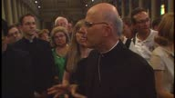Chicago Archbishop Francis George later raised to Cardinal gives a tour with fellow Chicagoans at St Peter's Basilica on June 29 1997 in Vatican City...