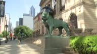 WGN Chicago Art Institute lion statues wearing Blackhawks helmets during Stanley Cup finals on June 3 2015