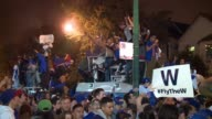 WGN Chicago Cubs Fans Celebrate Outside Wrigley Field after the Cubs won the World Series on Nov 2 2016
