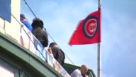 WGN Chicago Cubs' Flags At Wrigley Field at Wrigley Field on April 08 2013 in Chicago Illinois