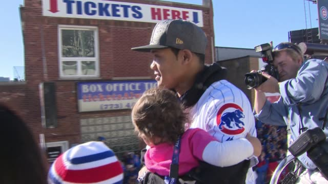 WGN Chicago Cubs Player Addison Russell on Victory Parade Bus With his Wife and Kids on November 4 2017 after the Chicago Cubs won the 2017 World...