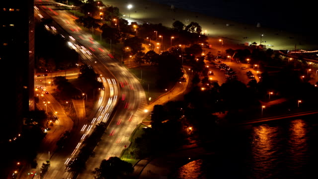 Chicago highway at Night Timelapse