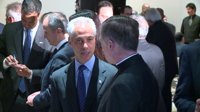 WGN Chicago Mayor Emanuel Talking Archbishop Cupich at Event for Italian Prime Minister at the Chicago Art Institute on March 30 2016