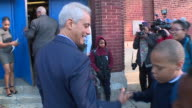 WGN Chicago Mayor Rahm Emanuel Greets Students Walks in to School on First Day of Classes at Harold Washington Elementary School in Chicago on Sept 5...