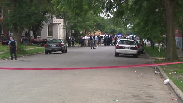 Chicago Police At Crime Scene on August 19 2013 in Chicago Illinois
