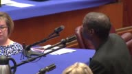 Chicago Police Torture Victim Darrell Cannon Addresses City Council at a hearing on April 14 2014 about reparations for Police Commander Jon Burge's...