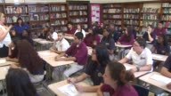 Chicago Public Schools open for the school year High School Students In Classroom at UIC College Prep on August 26 2013 in Chicago Illinois